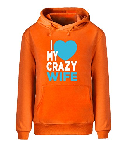 Eagle u2 Men's Winter Hoodie Sweatshirt I love My Crazy Wife orange
