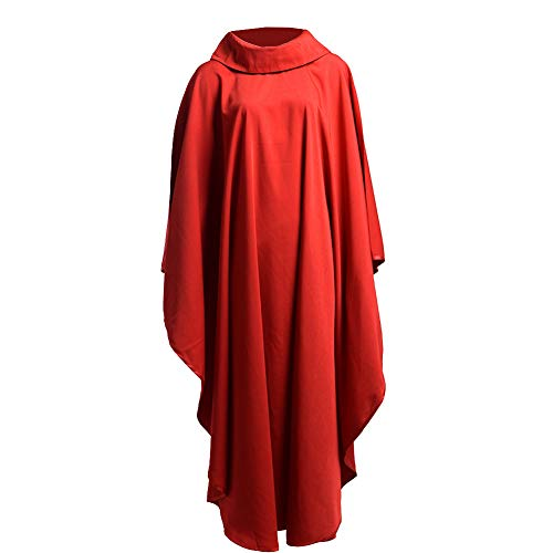 (BLESSUME Church Priests Solid Chasuble Mass Vestments (Red-Cowl Collar))