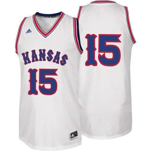 adidas Kansas Jayhawks White #15 2XL 1988 Retro Twill Basketball Jersey