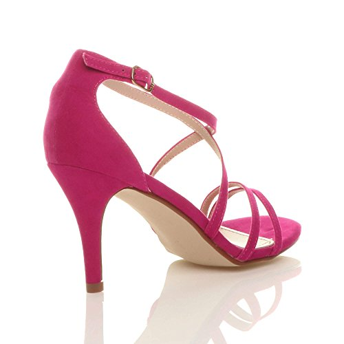 Pink Ajvani Sandals High Suede Women Shoes Fuchsia Size Heel zrz0xPv