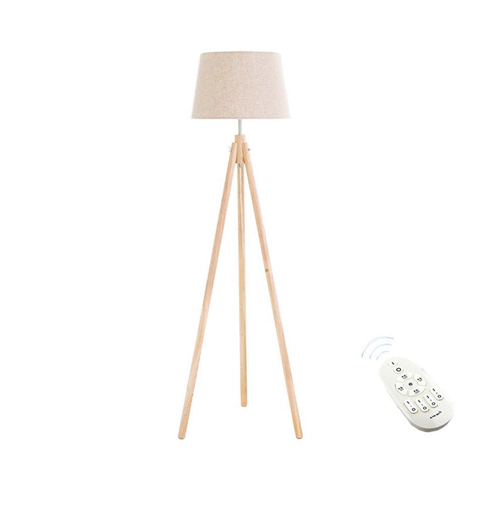 現代の簡単なフロアランプの研究ベッドルームのベッドサイドの北ヨーロッパソリッドウッド日本式インテリジェントリモコン垂直ledライトE27 * 1木の色 (色 : #3) B07DGPBSRR 23481 #3 #3