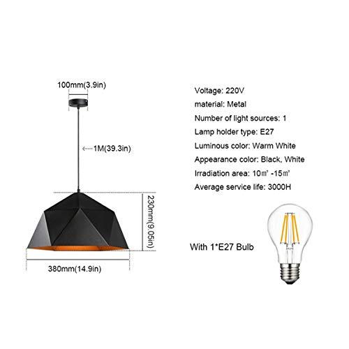 NANGE Wrought Iron Diamond Pendant Lamp, Industrial Wind Ancient Ways Geometry Pot Droplight,Cafe Restaurant Chandelier,E27(Without Light Source) (Color : Black, Size : AC 110V) by NANGE (Image #1)