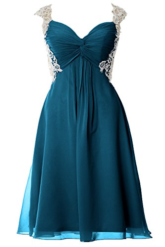 Evening Party Chiffon MACloth Formal Teal Gown Straps Prom Dress Short Women Lace zxSwqxFA