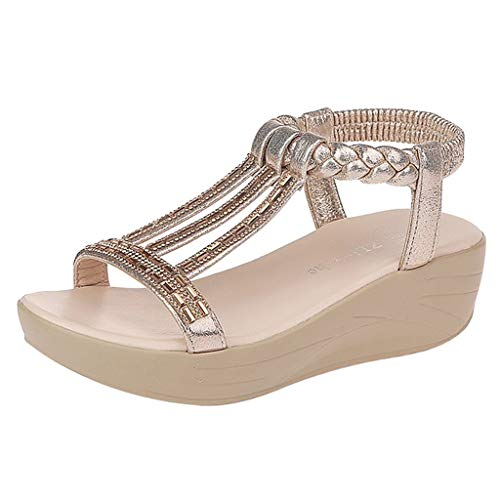 Women's Elastic Strappy String Thong Ankle Strap Summer Gladiator Sandals Stylish and Elegant Thick Bottom Wedge Sandals Gold