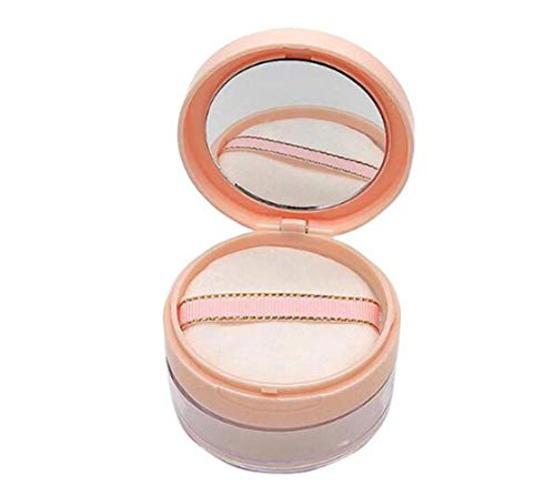 20ml 0.67oz Empty Refillable Portable DIY Make up Loose Powder Container Case with Sponge Powder Puff Mirror and Sifter Foundation Cosmetic Box (Pink)