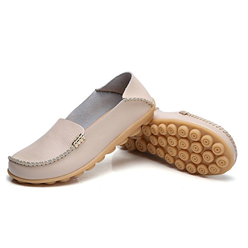 Blivener Womens Casual Loafers Walking Flat Shoes Comfort Summer Slippers Beige 6jrlF2043