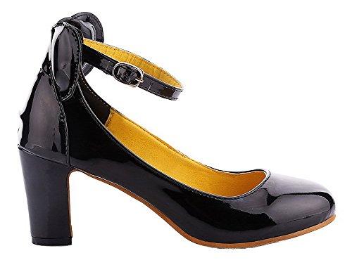 Allhqfashion Mujer's Patent Leather Kitten-heels Hebilla Redondo-toe Bombas-zapatos Amarillo