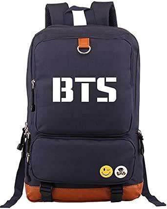 حقيبة الكتب الأساسية الكورية BTS Causel تناسب الكمبيوتر المحمول 43.18 سم / الكمبيوتر المحمول مصممة للسفر حقيبة الظهر دراسة العمل للطلاب والفتيان والفتيات، أزرق داكن