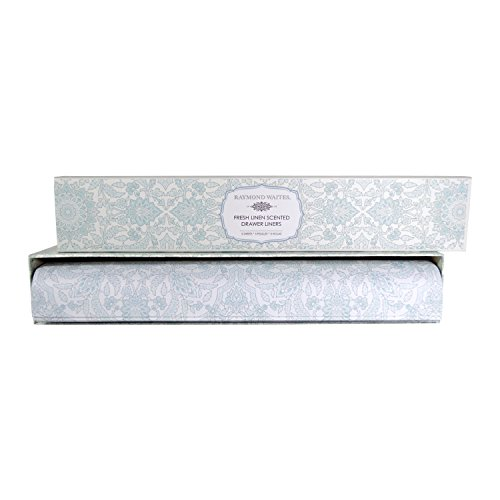 Raymond Waites Scented Fragrant Drawer Liners for Dresser, Linen Closet Shelves, 5 Scented Sheets (Fresh Linen) (Suitcase Dresser)