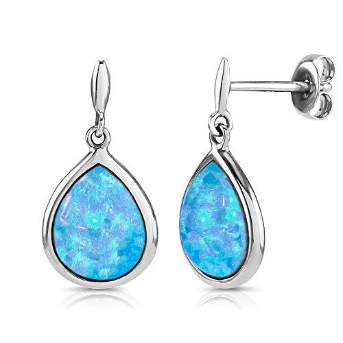 Paul Wright Created Opal Dangle Drop Earrings, 925 Sterling Silver, 10mm x 8mm Teardrop Shape (2.00 cttw), Vibrant Blue Colour