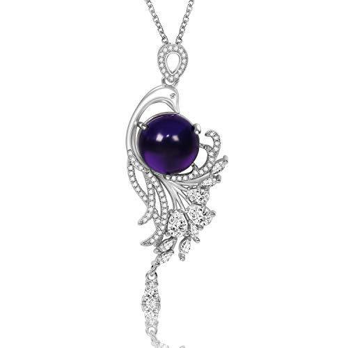 CILILI ❤️Nirvana of Phoenix❤️ Pendants with Swarovski Crystals Quartz Gemstones Chain Necklace Jewelry Gift for Women (1-Silver (Amethyst)) from CILILI
