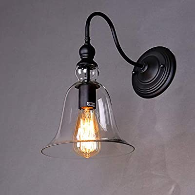 Lightess Wall Sconce Lighting Vintage Edison Glass Bell Wall Lamp Shade Light Fixtures 1 Head