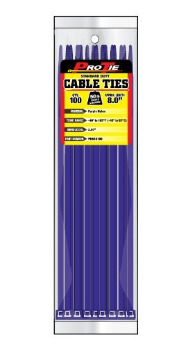 Pro Tie PR8SD100 8-Inch Purple Standard Duty Color Cable Tie, Purple Nylon, by Pro Tie by Pro Tie