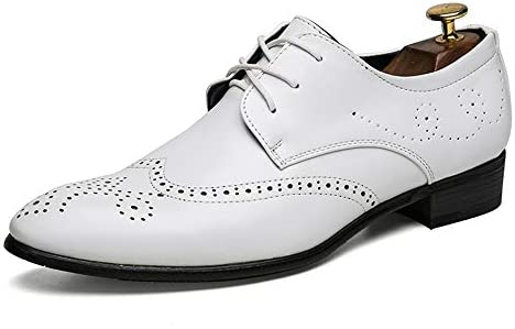 Mens Brogue Carved Lace Up Leather Shoes Casual White Fashion Sneakers Loafers
