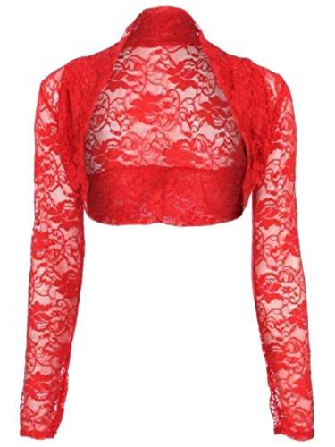 Janisramone Frauen Langarm Spitzen Achselzucken Bolero Strickjacke zugeschnittene top Rot
