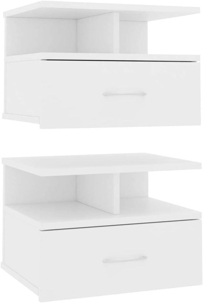 vidaXL 2X Tables de Chevet Flottantes Table de Nuit Murale Armoire de Chevet avec Un Tiroir Chambre /à Coucher Maison Blanc 40x31x27 cm Agglom/ér/é
