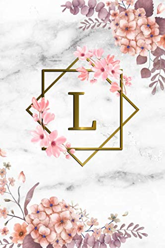 (L: Cute Initial Monogram Letter L College Ruled Notebook. Pretty Personalized Medium Lined Journal & Diary for Writing & Note Taking for Girls and Women - Grey Marble & Gold Pink Floral Print )
