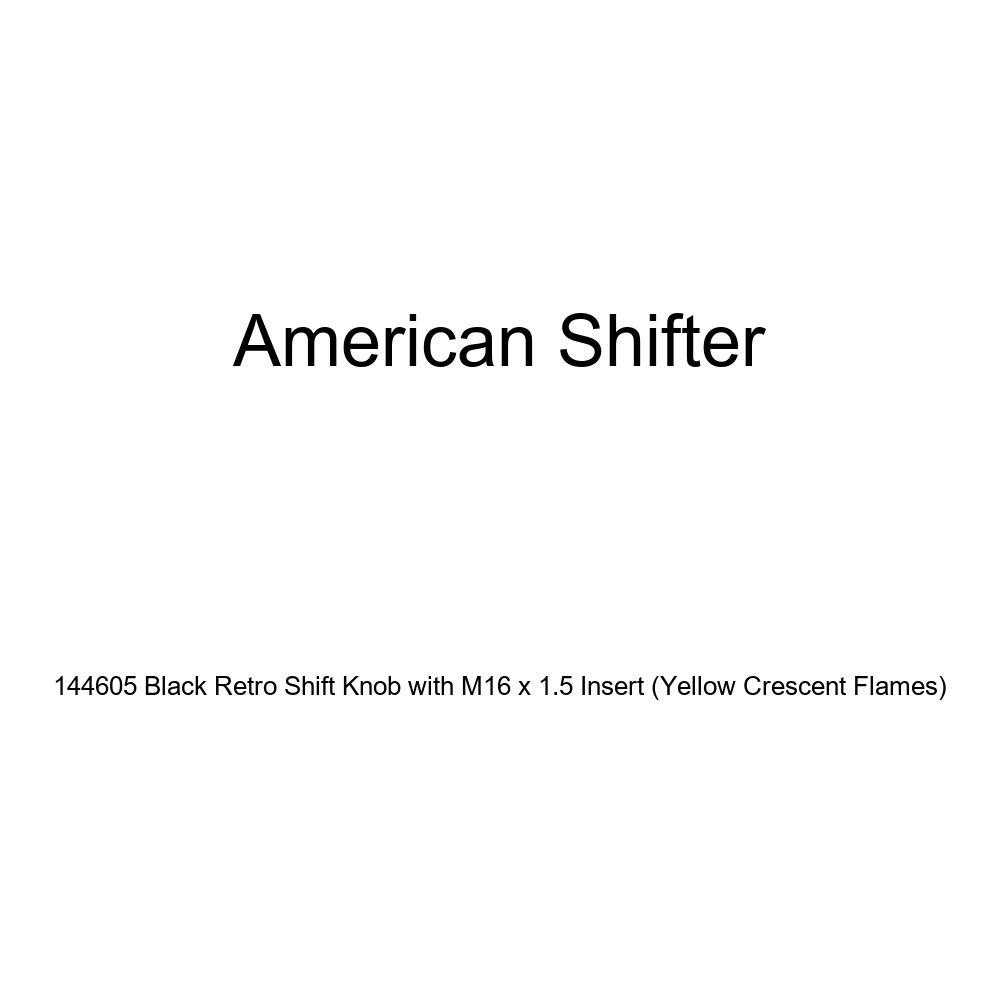 Yellow Crescent Flames American Shifter 144605 Black Retro Shift Knob with M16 x 1.5 Insert