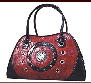 Backbone Textured Faux Leather Bling Pet Carrier, Red by Backbone