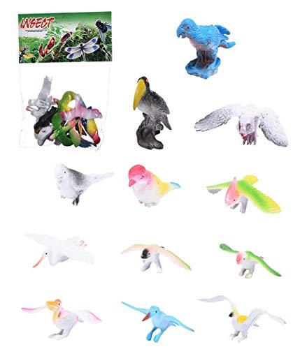 Vacally 12pcs Mini Birds Toy Set Pet Bird Toy Plastic Mini Educational Bird Animal Toys for Babies Boys Girls Children Parakeet Cockatiel Finch Cockatoo