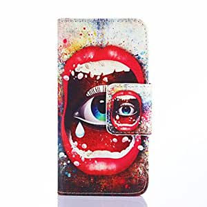 SHOUJIKE Mouth And Eye Pattern PU Leather Full Body Case with Card Slots And Stand Case for Samsung Galaxy S5 Mini