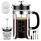 Veken French Press Coffee Maker 304 Stainless Steel 4 Filter Screens Durable Easy Clean Heat Resistant Borosilicate Glass, ((8 cups, 34 oz) -100% BPA Free, Silver