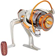 Fishing Reel, Durable Low Profile Spinning Fishing Reel with Wooden Handle for Ice Fishing Saltwater Freshwate