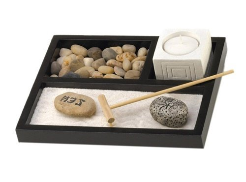 Tabletop Zen Sand Rocks Candle Holder Rake Garden Kit