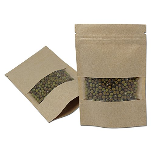 50 Pcs Clear Window Gusset Bottom Kraft Zipper Bag Herbs Spice Reselable Heat Seal Smell Proof Pouch Food Grade Storage Stand Up Alone Packet (3.5x5.1 inch 1.94oz Ground Coffee, Brown 7.48mil Thick)
