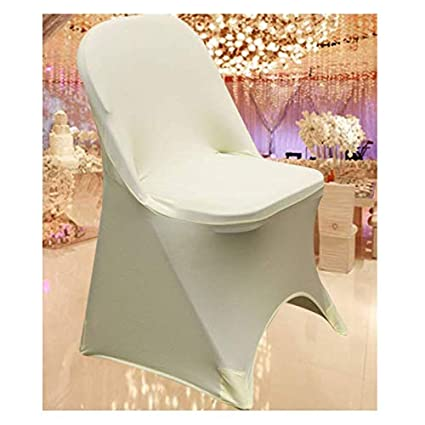 Phenomenal Springrose Ecoluxe Ivory Spandex Stretch Folding Chair Covers 10 Set Sleek Resilient Polyester Elastic Spandex For Wedding Bridal Showers Caraccident5 Cool Chair Designs And Ideas Caraccident5Info