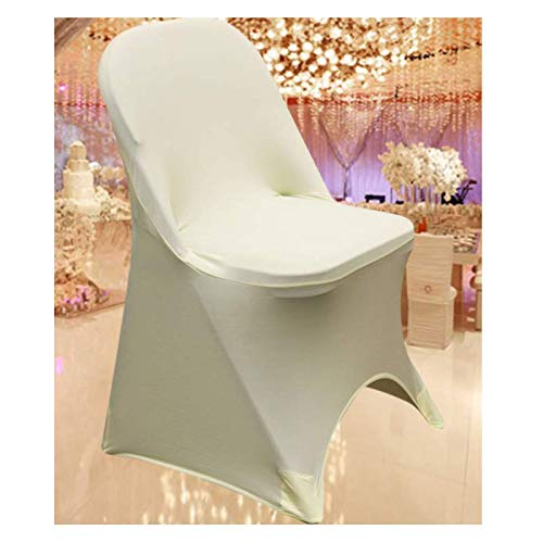 SPRINGROSE 100 Ecoluxe Ivory Spandex Stretch Folding Chair Covers | Sleek, Resilient Polyester & Elastic Spandex | for Wedding, Bridal Showers, Anniversary Party, Receptions, Celebrations, More