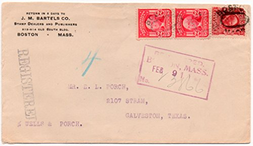 US Registered Postal Cover 1904 With 6 Cent Stamp Scott #305 & 2- 2 Cent Stamps Scott #319 -