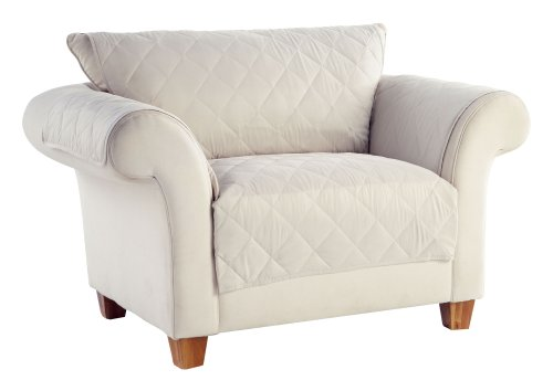 Tailor Fit Diamond Quilted Microsuede Machine Washable Furniture Love Seat Protector, Creamwear by Tailor Fit