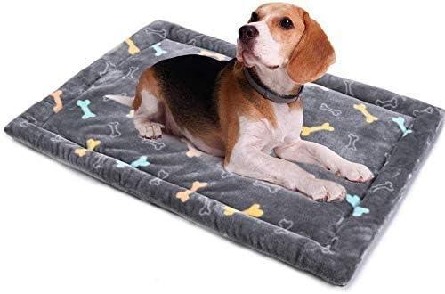 ALLISANDRO Colchoneta para Perros, Colchón Lavable para Gatos Cojín de Felpa Suave Antideslizante para Mascotas Gris L 100x70cm