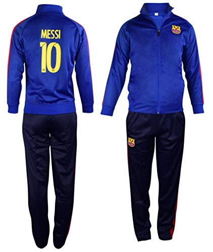 Barcelona Messi #10 Kids Soccer Tracksuit All Youth Sizes Soccer Track Jacket and Track Pants Gift Set (YXL 12-14 Years, Barcelona Messi #10)