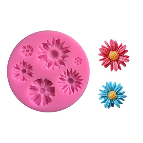 Sunflower Shape Silicone Cake Fondant Chocolate Mold by TUU, Baking Mould DIY Wedding Party Cake Decorating Tools for Wedding, Birthday Party (Pink)