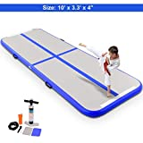 Goplus 10′ x 3.3′ Inflatable Gymnastic Mat Air Track Tumbling Mat with Pump, Air Floor for Home Use, Beach, Park and Water