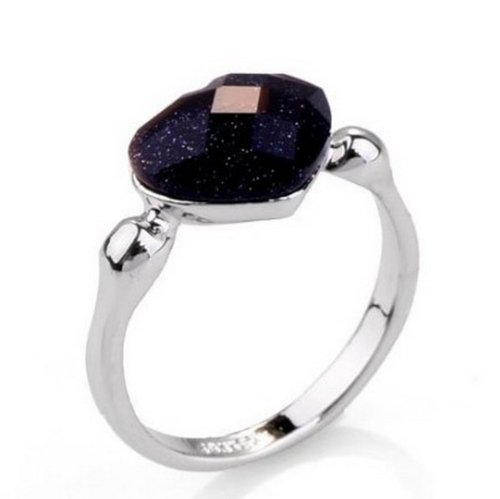 Happy M 18k Rose/White Gold Plated Heart Shaped Blue Goldstone Ring18k White Gold Plated 6.5