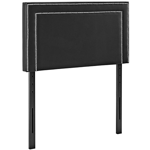 Modway Jessamine Upholstered Vinyl Headboard Twin Size With Nailhead Trim In Black by Modway