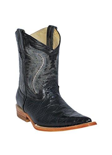 Photo Kid`s 3X-Toe Black Genuine Leather Anteater Print Western Boots