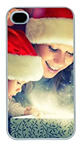 iPhone 4S/4 Case Cover - Christmas magic Polycarbonate Plastic Hard Back Case Cover Protector Compatible with iPhone 4s and iPhone 4 White