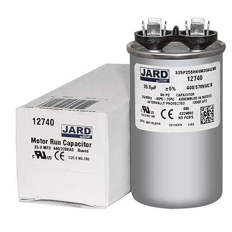 BOJACK 25 uf 370 450 V AC CBB65 Motor y ventilador Arranque redondo Condensador 25 MFD 10000 AFC