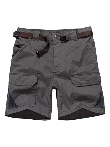 - Women's Outdoor Casual Expandable Waist Lightweight Water Resistant Quick Dry Cargo Fishing Hiking Shorts #2105-Grey,30