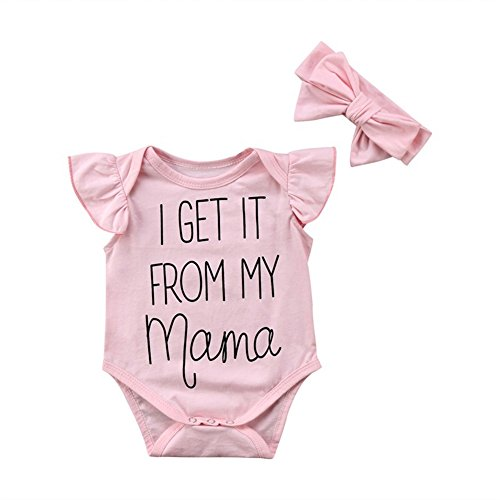Newborn Baby Girls Cute Ruffle Bodysuit I Get It From My Mama Letters Print Sleeveless Romper With Pink Headband (3-6M, - Clothes Funny Cute Baby