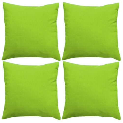 Water Resistant Outdoor Filled 18 Cushion In Lime Green 4 Pack
