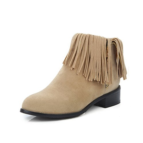 AmoonyFashion Womens Solid Low-Heels Round Closed Toe Imitated Suede Zipper Boots, Beige, 38