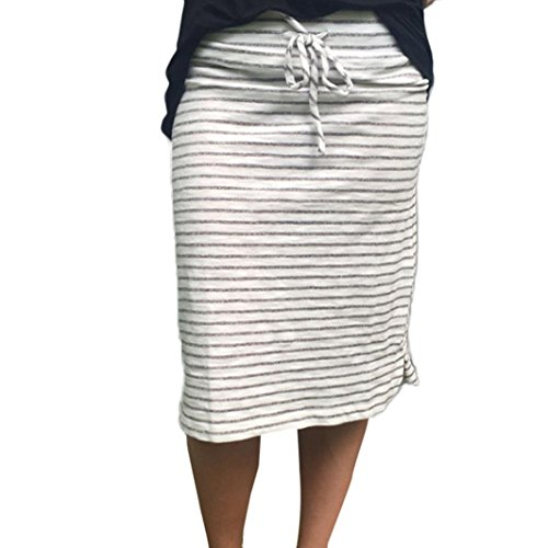 Stripe Short Skirt for Women Knee Length Casual Striped Skirts Summer Elastic Gray