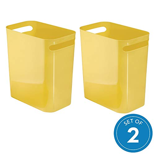 iDesign Una Waste Can, Trash Can for Bathroom, Kitchen, Bedroom - Yellow, Pack of 2 (Yellow Trash Can For Bedroom)