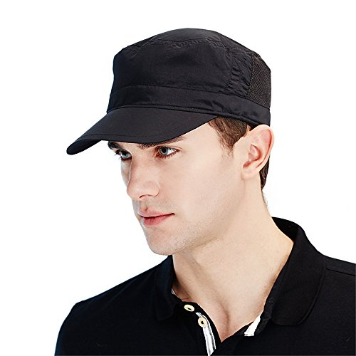 Kenmont Men's Washed Cadet Army Cap Corps Military Hat Baseball Cap Quick-Drying Sport Cap (Black)