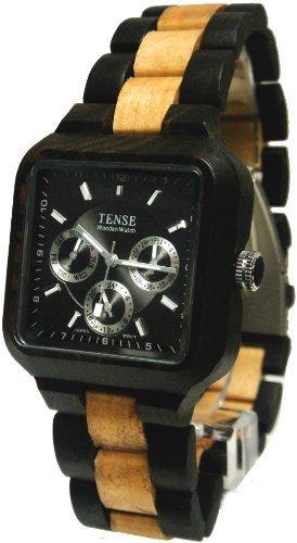 Tense Men's Dark Sandalwood/Maple Brown Summit Analog Black Dial Wood Watch